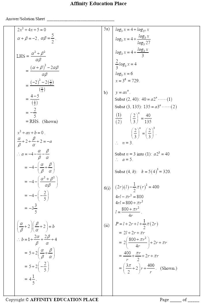 GCE O level Additional Math Paper 2 Solutions 4038/02/O/N/11